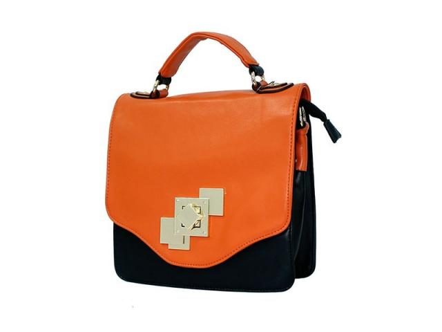 Synthetic leather colorblock Mexican hand bag