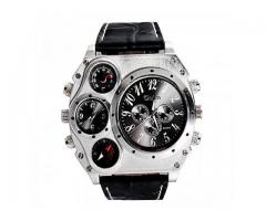 Oulm Analog Metal Bezel With Four Sub-Dials Watch - Black